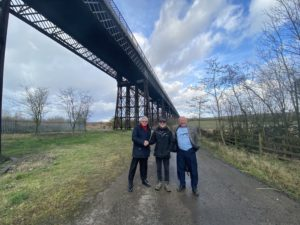 (left to right): Ian Viles, Jeff Wynch and colleague Kieran Lee at Bennerley Viaduct.