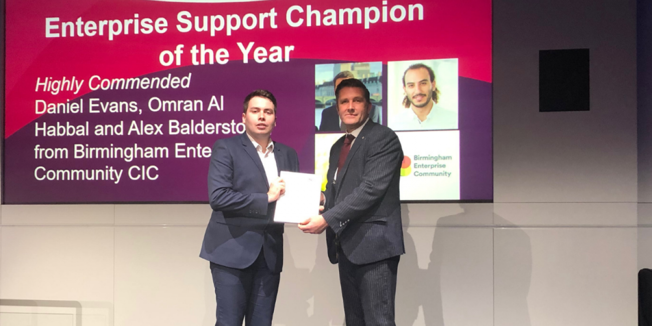 Enterprise Support Champion of the Year - HIGHLY COMMENDED: Daniel Evans, Omran Al Habbal and Alex Balderstone from Birmingham Enterprise Community CIC